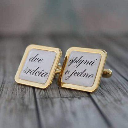 3aa8b5617202 Manžetové gombíky s vlastným textom (zlaté) - svadobnemanzety.sk