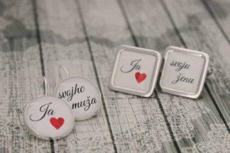 set naúšníc a manžetových gombíkov pre ženícha a nevestu