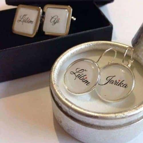romantický set manžetové gombíky a náušnice